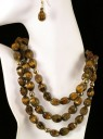 Tiger Eye/Gold Necklace and Earring Set