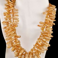 3 Strand Fresh Water Pearl & Citrine Necklace