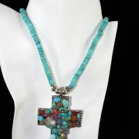 Turquoise Heishi w/Multi-Stone Cross Necklace