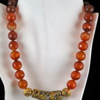 Carnelian With Trade Bead Necklace