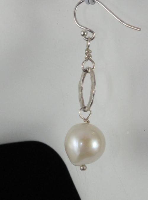 Fresh Water Pearl/Sterling Hoop Earring
