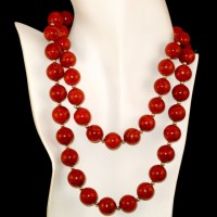 Round Sponge Coral Necklace