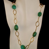 Oval Turquoise & Gold Necklace