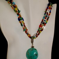 Three Strand Necklace & Turquoise Pendant