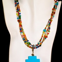 Three Strand Turquoise Necklace w/ Cross Pendant