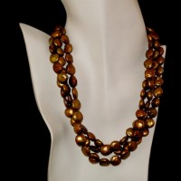 Three Strand Copper Fresh Water Pearl Necklace