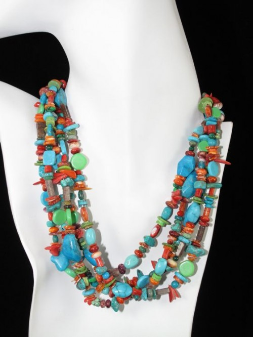 semi across handmade preciou silver precious rainbow stones necklace garne with