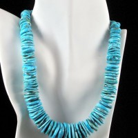 American Turquoise Disk Necklace