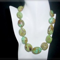 Chinese Turquoise Necklace w/ Peridot Spacers