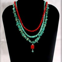 Turquoise Small Nugget Necklace w/ Coral Drop
