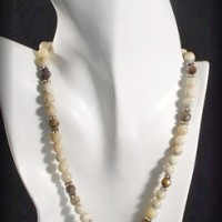 African Opal Round Bead Necklace & Pendant