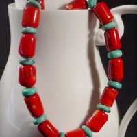 Coral Barrel & Turquoise Necklace