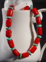 Coral Barrel &#038; Turquoise Necklace