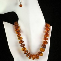 Amber Nugget Necklace on Silk Cord