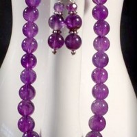 Round Bead Amethyst Necklace