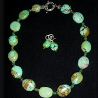 Oval Chinese Turquoise & Chrysoprase Necklace