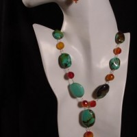 Carnelian & Chinese Turquoise Necklace