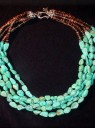 Five Strand Turquoise & Cocoa Shell Necklace