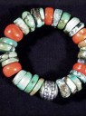 Turquoise &#038; Coral Disk Bracelet