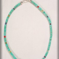 Chinese Turquoise Heishi Necklace