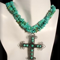 Three Strand Turquoise Necklace w/ Cross