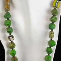 Green Turquoise and Trade Bead Necklace